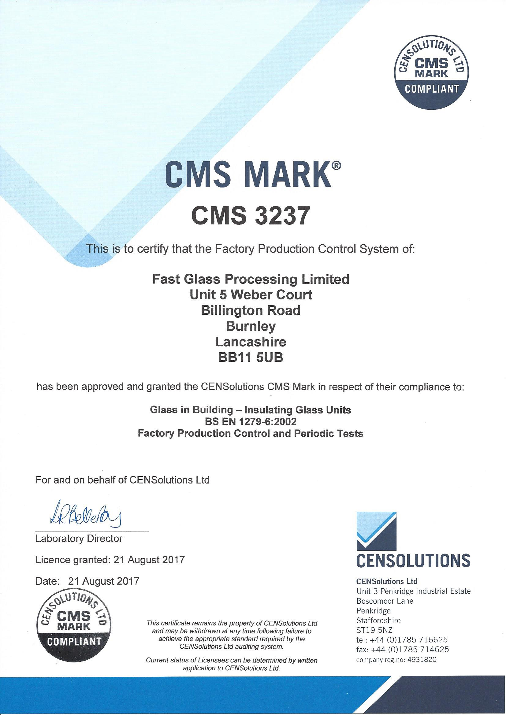 CMS 3237 Certificate - Fast Glass Processing Ltd[1]